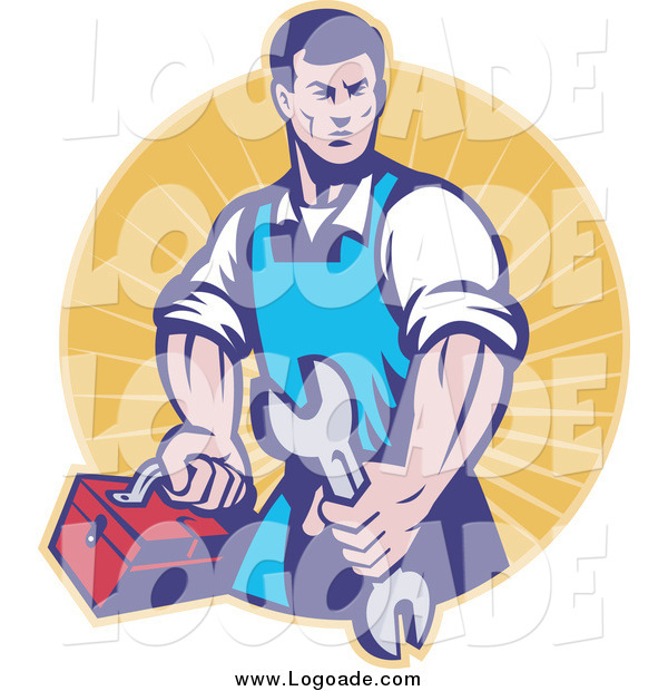 Clipart of a Retro Male Mechanic Holding a Spanner Logo