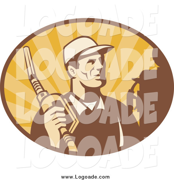 Clipart of a Retro Man Holding a Fuel Nozzle in an Oval of Rays Logo