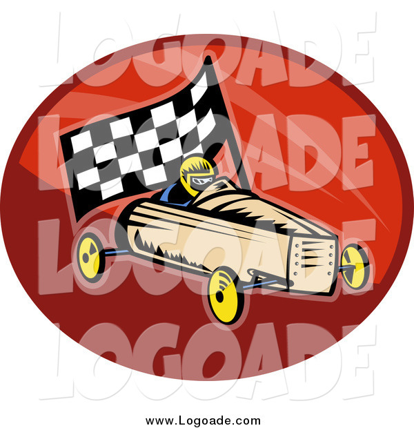 Clipart of a Retro Soap Box Racer and Car Logo