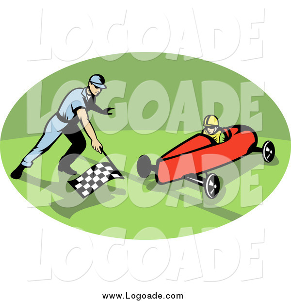 Clipart of a Retro Soap Box Racer in an Oval Logo