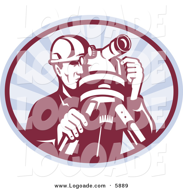 Clipart of a Retro Surveyor Using a Theodolite in an Oval of Rays