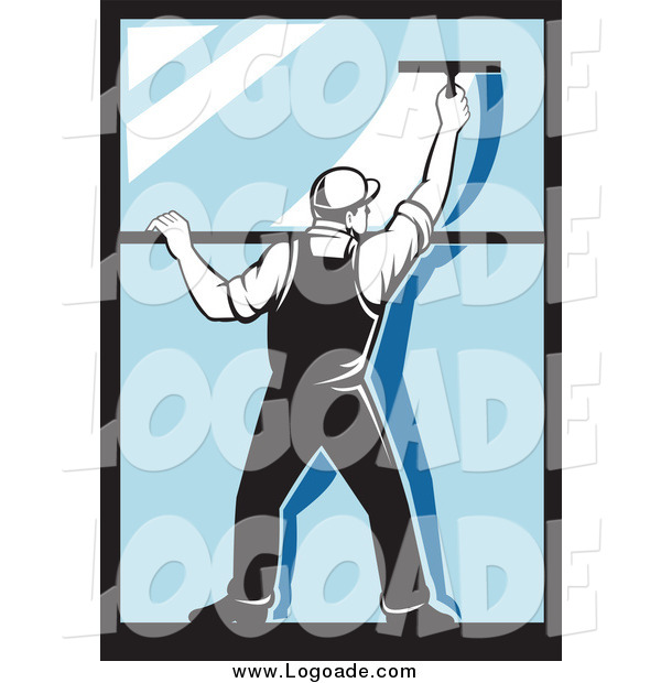 Clipart of a Retro Window Washer Guy Using a Squeegee