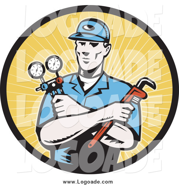 Clipart of a Retro Woodcut Male Plumber in a Yellow Rays Logo