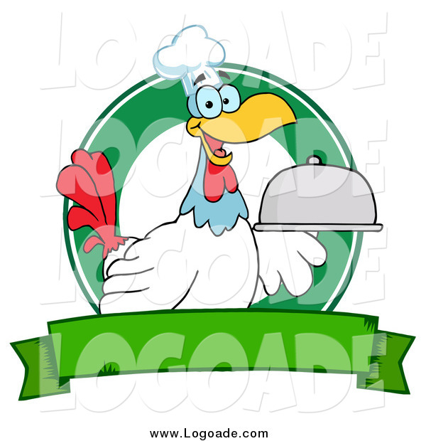 Clipart of a Rooster Chef Serving a Platter over a Circle and Blank Green Banner Logo
