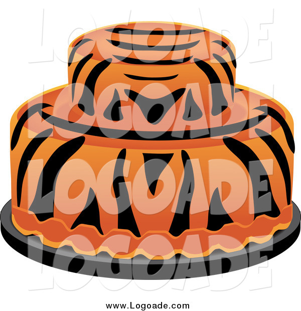 Clipart of a Round Tiger Striped Cake Logo