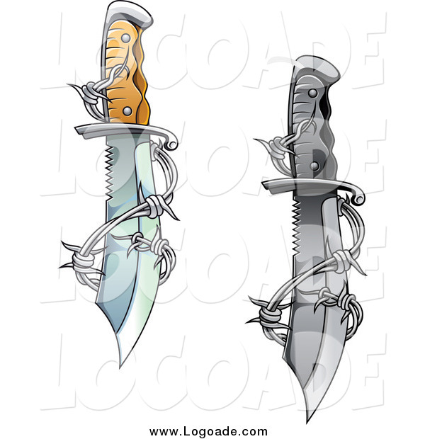 Clipart of a Sharp Daggers Entwined with Barbed Wire