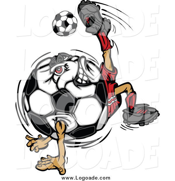 Clipart of a Soccer Ball Chacter Doing a Tricky Kick Sports Logo
