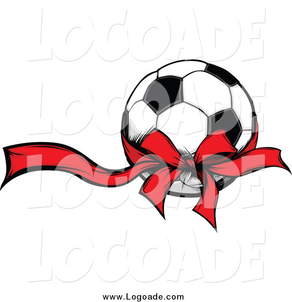 Clipart of a Soccer Ball with a Red Ribbon