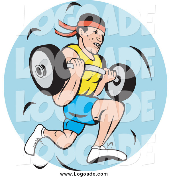 Clipart of a Strong Man Running and Carrying a Barbell Logo
