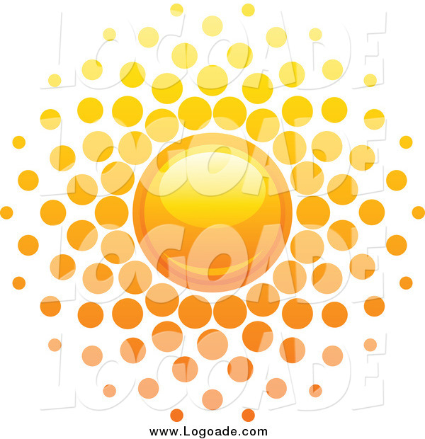 Clipart of a Summer Sun with Dot Rays Logo