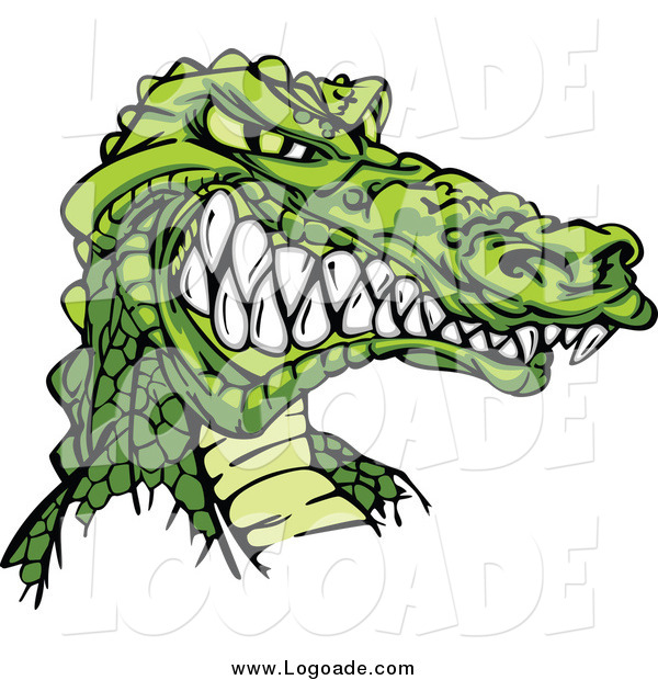 Clipart of a Tough Alligator Facing Right and Grinning Logo