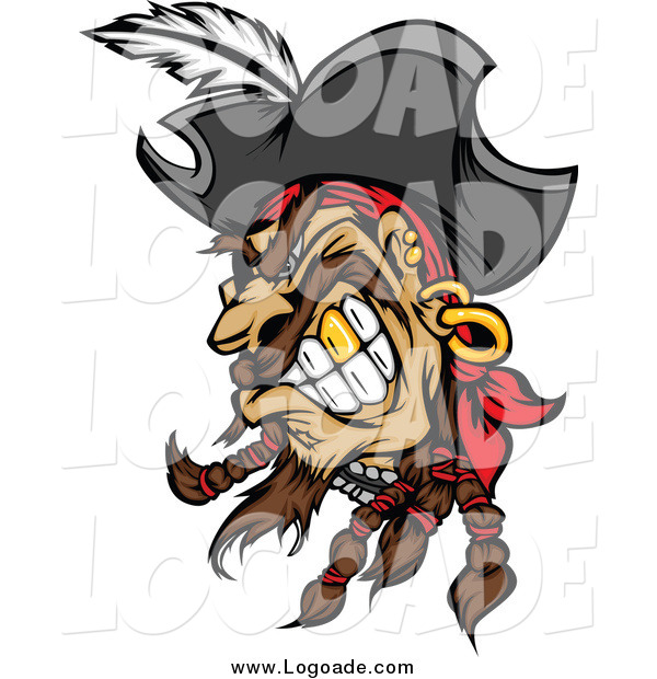 Clipart of a Tough Snarling Pirate Head with a Gold Tooth Logo
