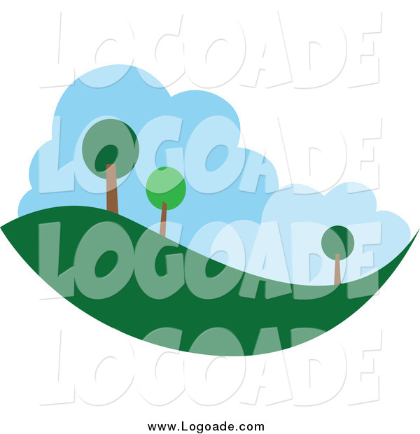 Clipart of a Tree and Hill Landscape Logo