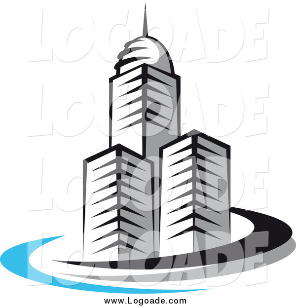 Clipart of a Trio of Skyscrapers and Swoosh Logo