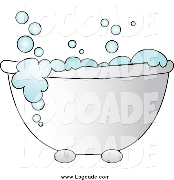Clipart of a Tub with Blue Bubbles