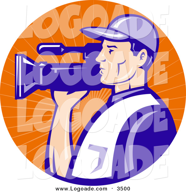 Clipart of a White Camera Man in Blue Uniform, Filming in an Orange Sun Ray Circle Logo