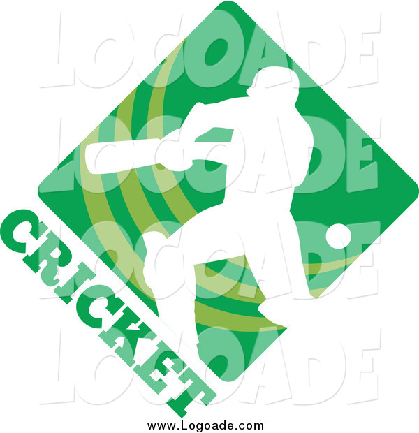 Clipart of a White Cricket Player over a Green Diamond with Text Sports Logo