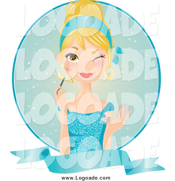 Clipart of a Winking Blond Woman in a Blue Dress, Applying Blush over a Circle and Blank Banner