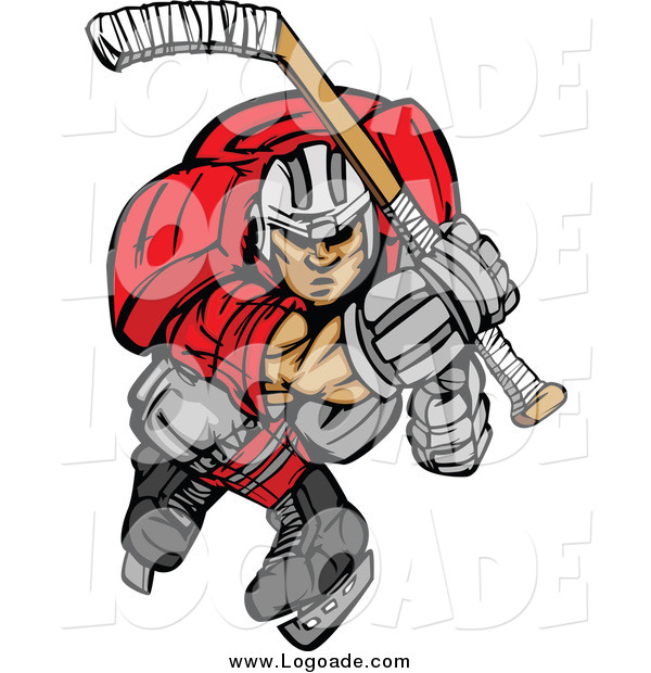 Clipart of an Aggressive Ice Hockey Player Skating Logo