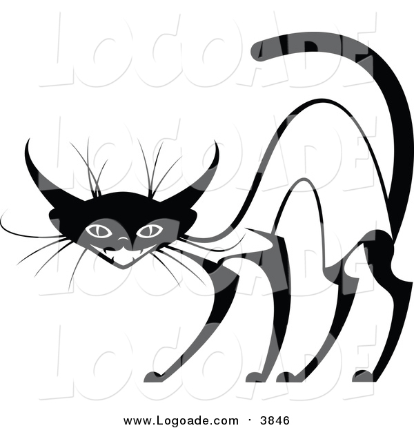 Clipart of an Evil Siamese Cat
