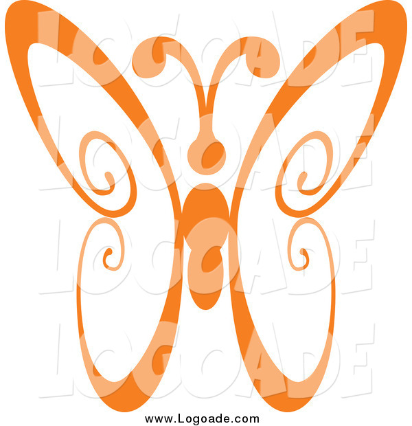 Clipart of an Orange Swirl Butterfly Logo