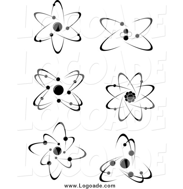 Clipart of Black and White Atoms and Molecules