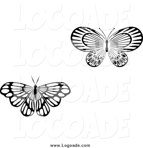 Clipart of Black and White Butterfly Logos