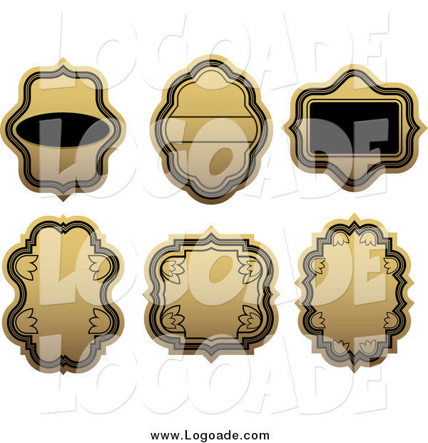 Clipart of Blank Gold and Black Label Logos