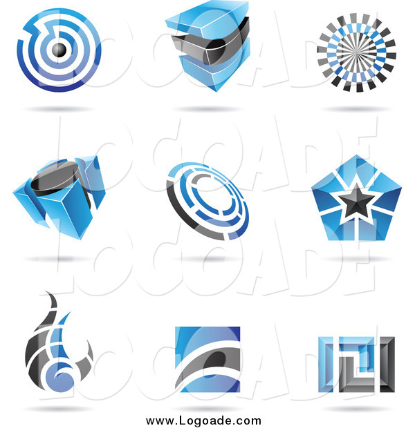 Clipart of Blue and Black Logos