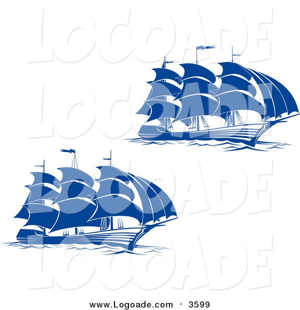 Clipart of Blue Sailing Ships Logos