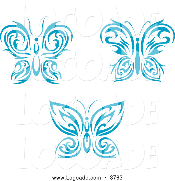 Clipart of Blue Tribal Butterfly Logos