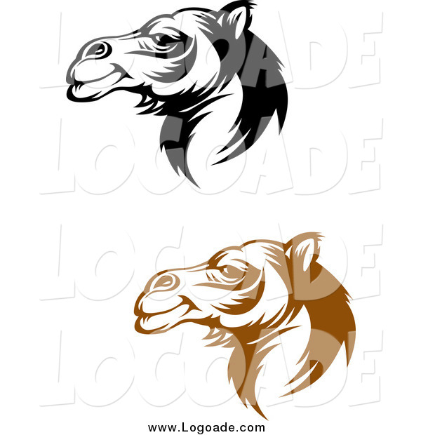 Clipart of Brown and Black Camel Face Logos