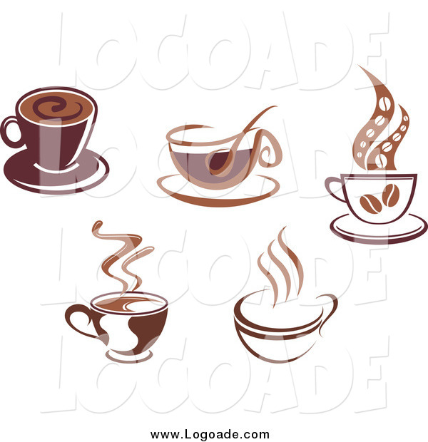 Clipart of Brown Coffee Cups Logos