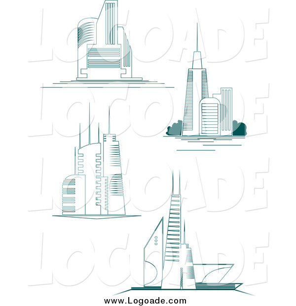 Clipart of City Skyscrapers Logos