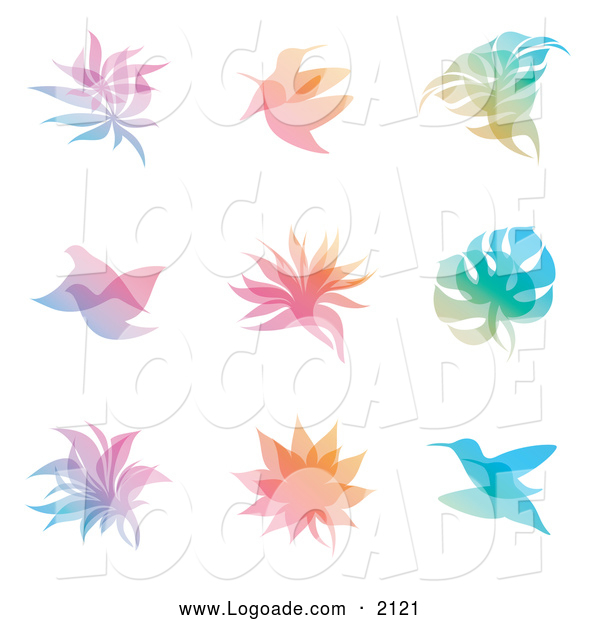 Clipart of Gradient Leaf and Bird Overlay Logos