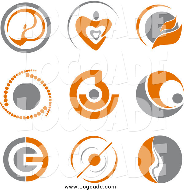 Clipart of Gray and Orange Logos