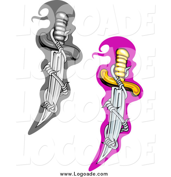 Clipart of Grayscale and Colored Dagger Knives with Twirled Barbed Wire Logos