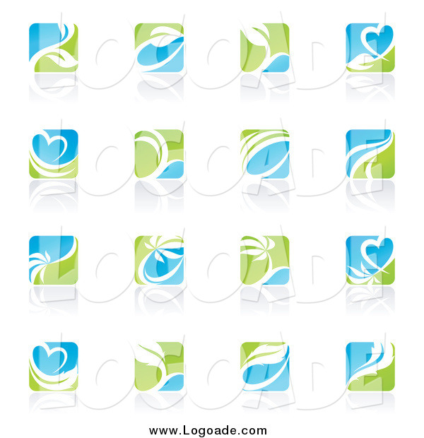 Clipart of Green, Blue and White Square Ecology Logos