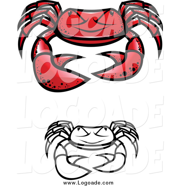 Clipart of Grumpy Crab Logos