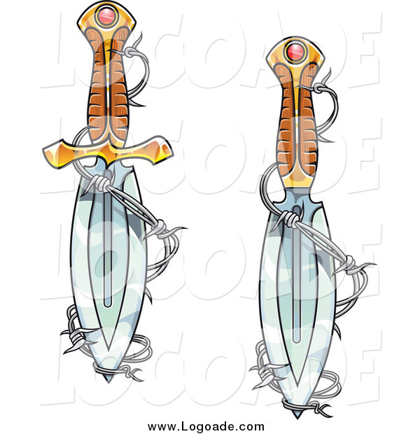 Clipart of Jeweled Daggers and Barbed Wire Logos