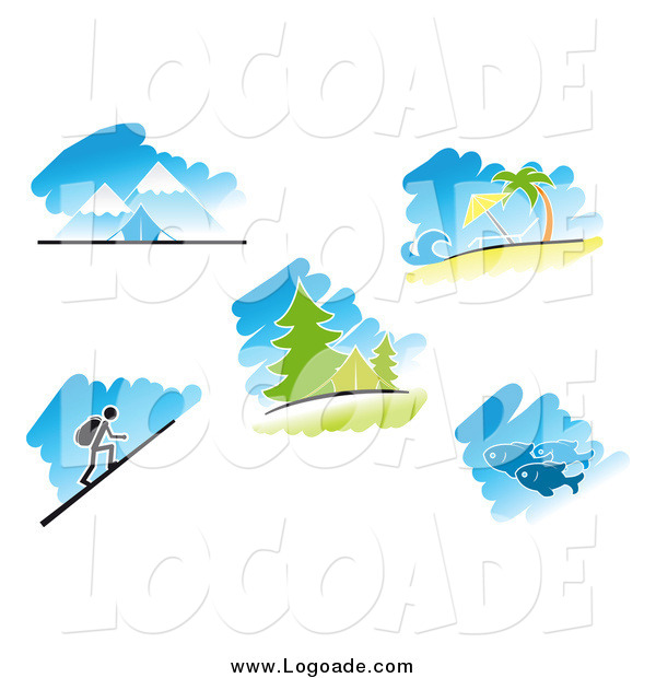 Clipart of Logos of Travel, Nature and Recreation Scenes