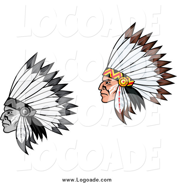 Clipart of Native American Men in Feathered Headdress, in Profile Logos