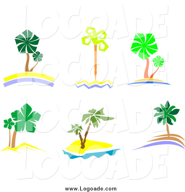 Clipart of Palm Trees and Islands Travel Logos