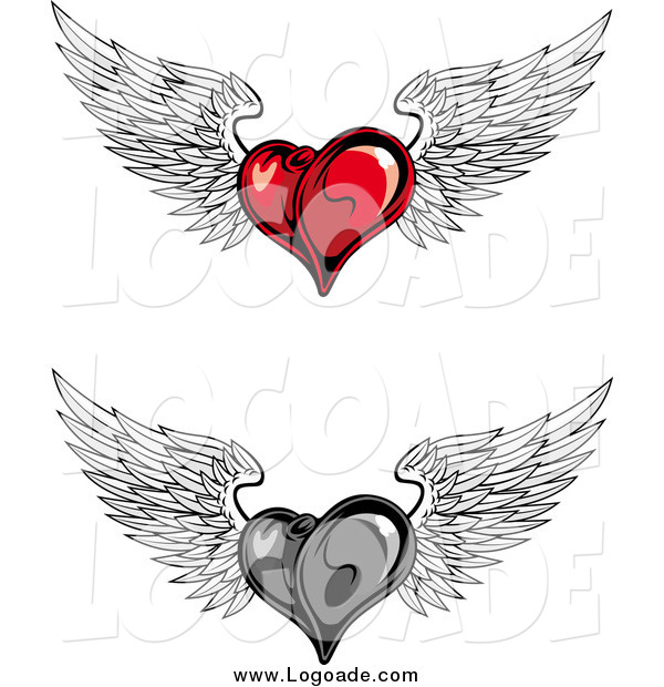 Clipart of Red and Grayscale Flying Winged Heart Logos