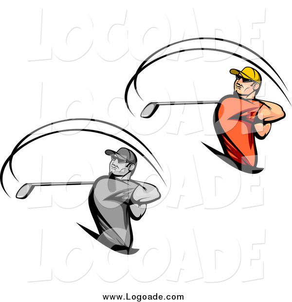 Clipart of Swinging Golfer Logos
