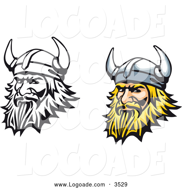 Clipart of Viking Men Logos