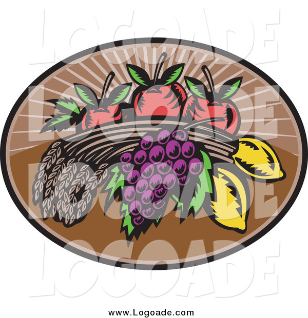 Clipart of Wheat, Grapes, Lemons and Apples Logo