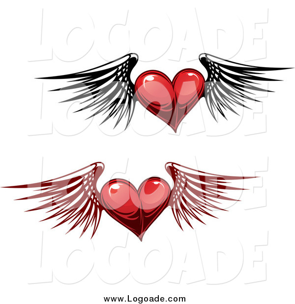 Clipart of Winged Red Heart Logos