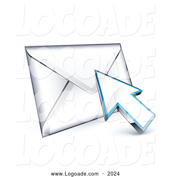 Logo of a 3d Arrow Cursor on an Envelope Logo