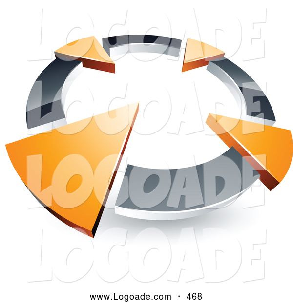 Logo of a 3d Chrome Circle with Four Orange Arrows Pointing Inwards
